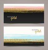 与难看的东西闪烁金子的横幅 免版税库存照片