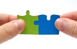 与难题的配合和合作概念 免版税图库摄影