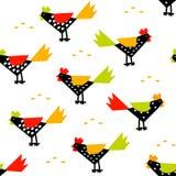 与雄鸡和五谷米的农历新年样式 库存照片