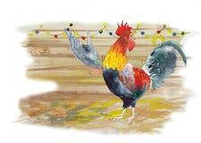 与雄鸡的新年花圈 向量例证