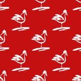与雄鸡的无缝的样式 在红色bac的拉长的公鸡刷子 免版税库存图片