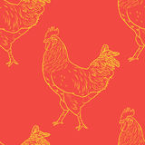 与雄鸡的无缝的样式 2017年标志 中国日历 免版税库存图片