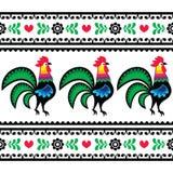 与雄鸡的无缝的波兰民间艺术样式- Wzory Lowickie, Wycinanka 库存照片
