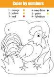 与雄鸡的着色页 由数字的颜色 免版税库存图片