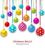 与集合五颜六色的圣诞节球的新年Bckground 库存例证