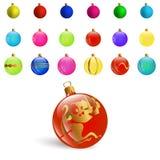 与集合五颜六色的圣诞节装饰物球的例证新年Bckground 免版税库存图片