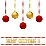 与集合五颜六色的圣诞节装饰物球的例证新年Bckground 库存图片