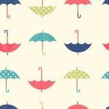 与集合平的伞的秋天无缝的样式 免版税库存照片