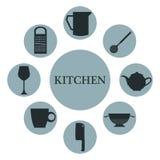 与集合汇集圆里面象另外剪影元素厨房的bluew颜色的白色背景 库存照片