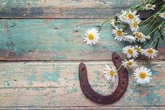 与雏菊生锈的马掌和花束的土气背景  免版税库存照片