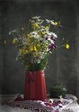 与雏菊的静物画 免版税库存图片