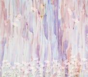 与雏菊花束的风景水彩花卉背景, 库存例证