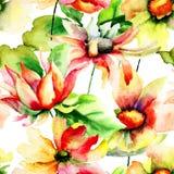 与雏菊花的无缝的墙纸 免版税库存照片