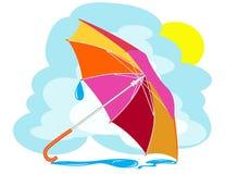 与雨下落的颜色伞 免版税库存照片