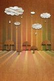 与雨珠和伞,纸纹理的云彩 免版税库存图片