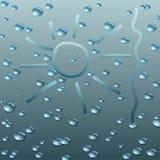 与雨珠的湿玻璃。传染媒介例证。 免版税库存照片