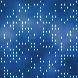 与雨珠主题的无缝的样式在蓝色 免版税库存图片