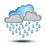 与雨的蓝色&灰色云彩丢弃坏W的符号 免版税库存图片