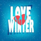 与雪、文本爱冬天和心脏的贺卡 库存图片