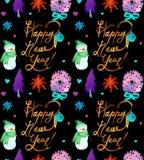 与雪人、树、鹿和新年快乐拷贝的水彩圣诞节假日无缝的样式 冬天新年题材 向量例证