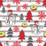 与雪人、雪花和christmass树的时髦传染媒介圣诞节样式在黑白条纹 皇族释放例证