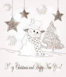 与雪人和冷杉的圣诞节明信片 库存照片