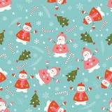 与雪人和圣诞树的圣诞节样式 库存照片