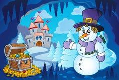 与雪人的冬天洞 免版税库存照片