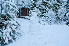与雪人的冬景花园视图 免版税库存图片