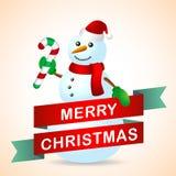 与雪人的圣诞卡 免版税库存图片