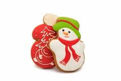 与雪人的圣诞节曲奇饼 免版税图库摄影
