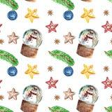 与雪人的圣诞节葡萄酒样式无缝的样式在雪地球,圣诞树杉木分支,装饰品,在白色的星 免版税库存照片