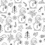 与雪人的无缝的样式 图库摄影