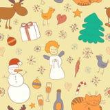 与雪人雪花的无缝的圣诞节样式 免版税库存照片
