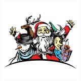与雪人驯鹿的圣诞快乐 库存照片