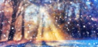 与雪剥落的抽象迷离冬天背景 免版税库存照片