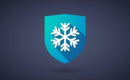 与雪剥落的长的阴影盾象 免版税库存图片