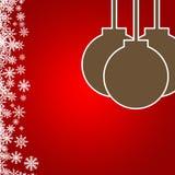 与雪和圣诞节ba的抽象红色背景布局设计 免版税库存照片
