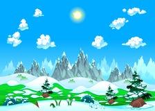 与雪和山的横向。 免版税库存图片
