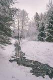 与雪和白色的冬天农村场面调遣葡萄酒作用 免版税库存图片