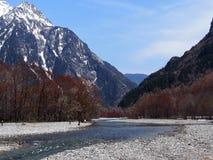 与雪山、树和河的美好的场面 库存图片