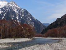 与雪山、树和河的美好的场面 库存照片
