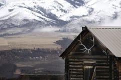 与雪山山脉和麋鹿角的老客舱 库存照片