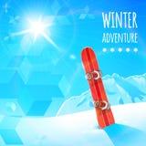 与雪板的冬天风景 免版税库存图片