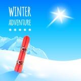 与雪板的冬天风景 库存照片