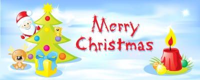 与雪的传染媒介水平的圣诞节设计 免版税库存图片