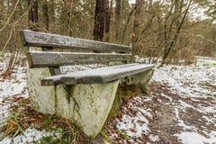 与雪的公园长椅 库存照片