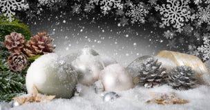 与雪的典雅的圣诞节装饰 库存照片