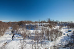与雪的冬天峡谷 免版税库存图片