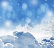 与雪的冬天背景 库存照片